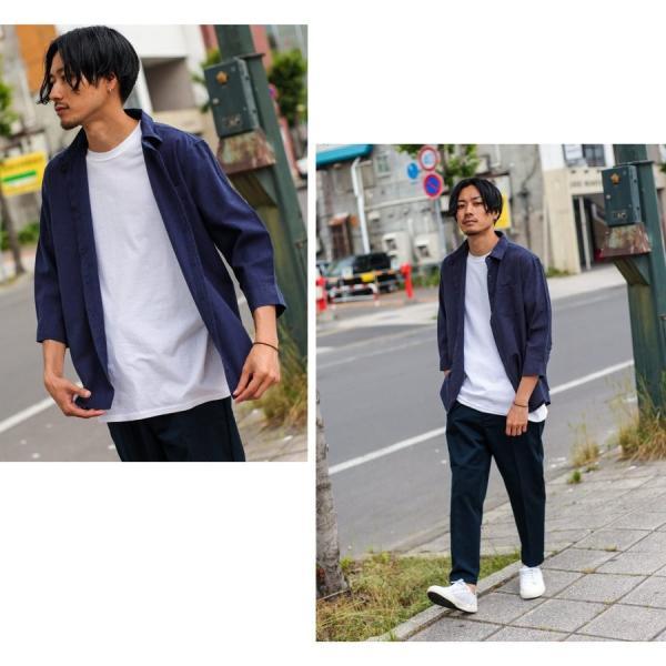 シャツ メンズ カジュアルシャツ リネンシャツ 麻 半袖シャツ 七分袖シャツ 白シャツ 綿麻 清涼 クール ファッション ポイント消化 (19006-12yz)|zip|13