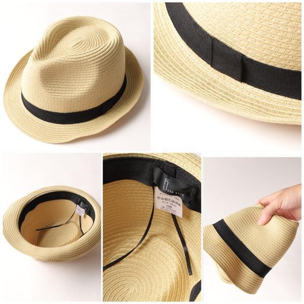 ハット メンズ ストローハット 帽子 折りたたみ可 中折れ帽 無地 家庭洗濯可 ファッション ポイント消化 (191129)|zip|03