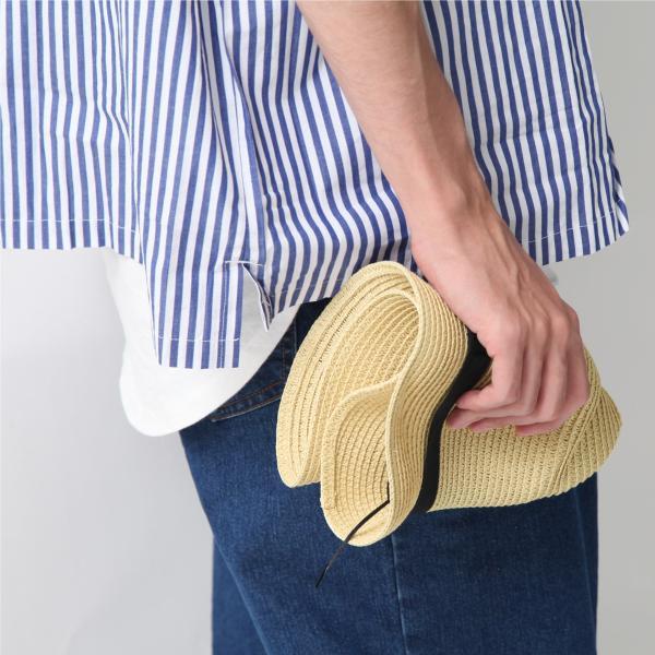 ハット メンズ ストローハット 帽子 折りたたみ可 中折れ帽 無地 家庭洗濯可 ファッション ポイント消化 (191129)|zip|08