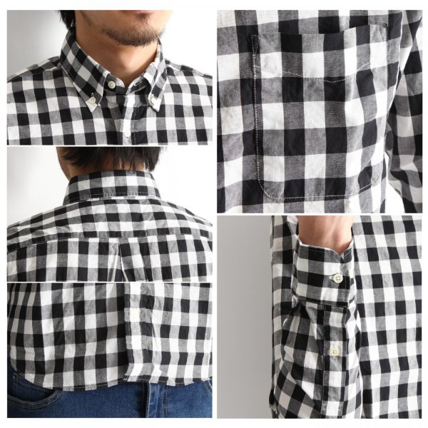 # 長袖 チェックシャツ メンズ シャツ ギンガムチェック ボタンダウン シャツ 総柄 日本製 カジュアルシャツ クール シャツ 春 送料無料 (20-305)|zip|04
