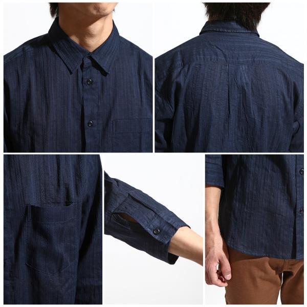 a9b442c7f4793d ... シャツ メンズ コットンシャツ ナチュラル レギュラーシャツ 7分袖 半端袖 ストライプ柄 インド ファッション ...