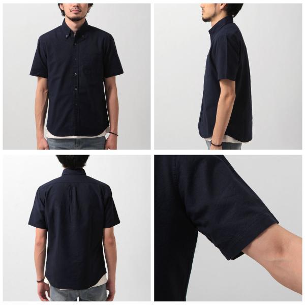 ボタンダウンシャツ メンズ カジュアルシャツ 日本製 オックスフォードシャツ シャツ 白シャツ ショート丈 綿 コットンシャツ 国産 (292003) D # zip 07