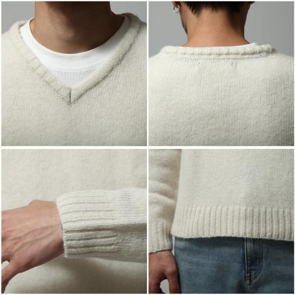 Vネックニット メンズ セーター ニット Vネック 長袖 ウール ニュージーランドウール  ファッション (56631-303-21) zip 03