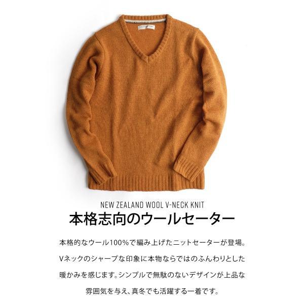 Vネックニット メンズ セーター ニット Vネック 長袖 ウール ニュージーランドウール  ファッション (56631-303-21) zip 04