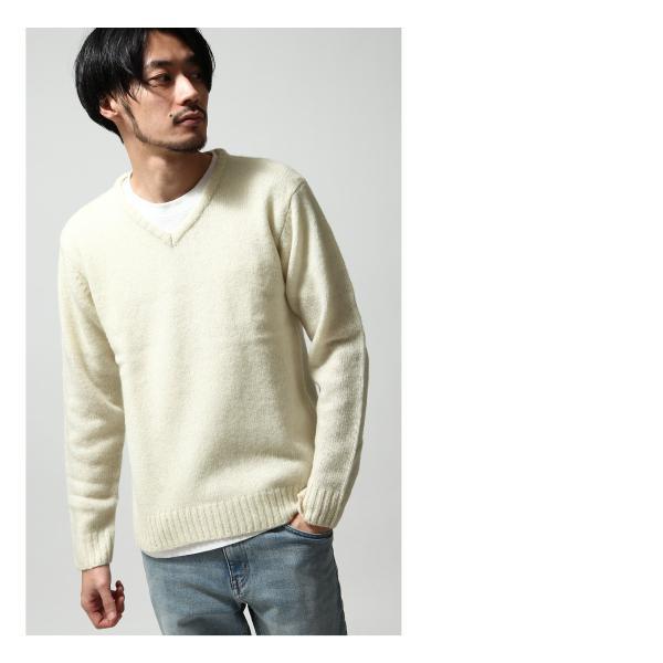 Vネックニット メンズ セーター ニット Vネック 長袖 ウール ニュージーランドウール  ファッション (56631-303-21) zip 06