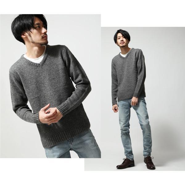 Vネックニット メンズ セーター ニット Vネック 長袖 ウール ニュージーランドウール  ファッション (56631-303-21) zip 07