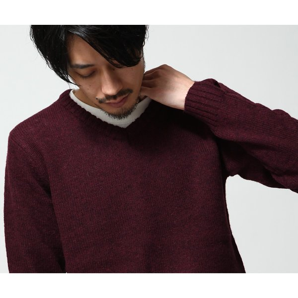 Vネックニット メンズ セーター ニット Vネック 長袖 ウール ニュージーランドウール  ファッション (56631-303-21) zip 08