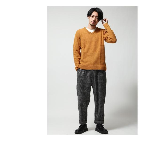 Vネックニット メンズ セーター ニット Vネック 長袖 ウール ニュージーランドウール  ファッション (56631-303-21) zip 09