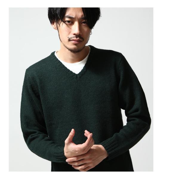 Vネックニット メンズ セーター ニット Vネック 長袖 ウール ニュージーランドウール  ファッション (56631-303-21) zip 10