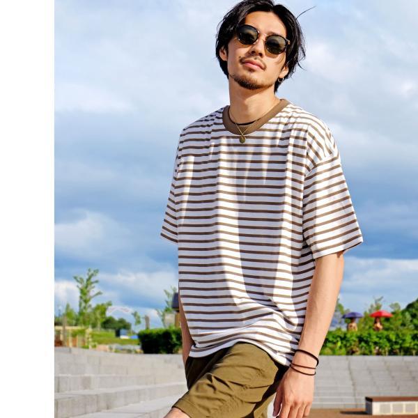 Tシャツ メンズ カットソー 半袖 クルーネック ボーダー ビッグシルエット ドロップショルダー 大きめ ファッション (661955)|zip|12