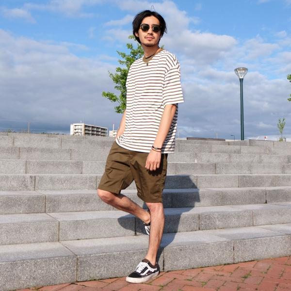 Tシャツ メンズ カットソー 半袖 クルーネック ボーダー ビッグシルエット ドロップショルダー 大きめ ファッション (661955)|zip|13