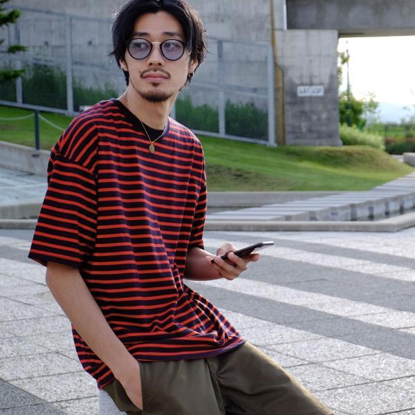 Tシャツ メンズ カットソー 半袖 クルーネック ボーダー ビッグシルエット ドロップショルダー 大きめ ファッション (661955)|zip|14