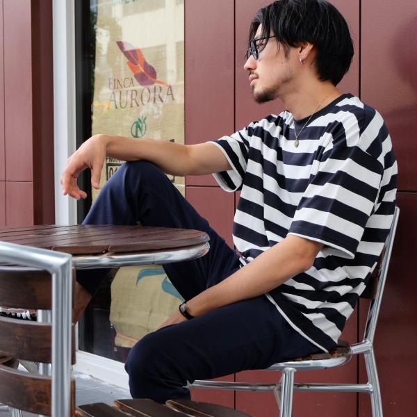 Tシャツ メンズ カットソー 半袖 クルーネック ボーダー ビッグシルエット ドロップショルダー 大きめ ファッション (661955)|zip|16