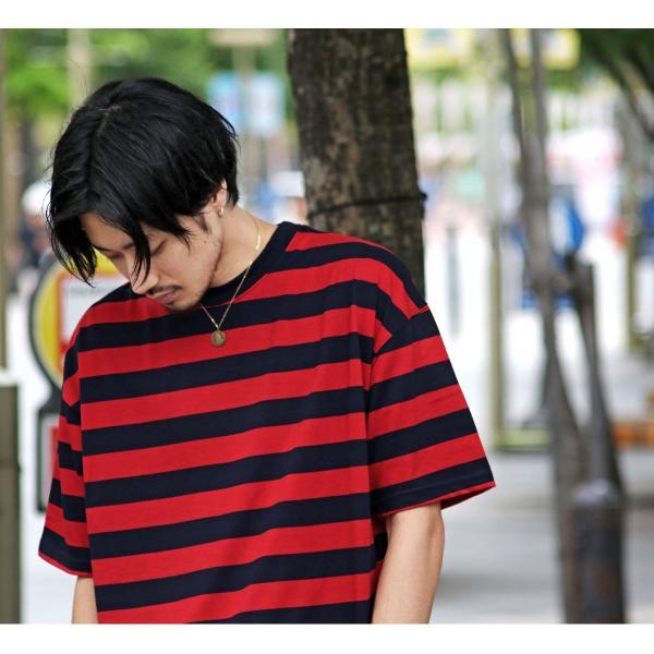 Tシャツ メンズ カットソー 半袖 クルーネック ボーダー ビッグシルエット ドロップショルダー 大きめ ファッション (661955)|zip|17