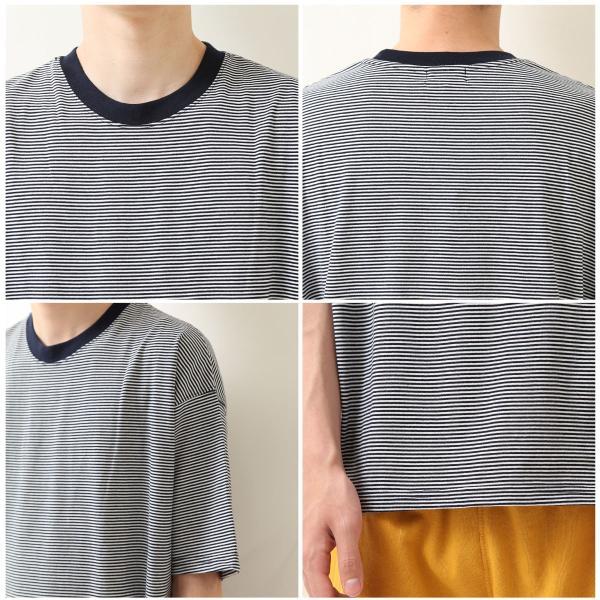 Tシャツ メンズ カットソー 半袖 クルーネック ボーダー ビッグシルエット ドロップショルダー 大きめ ファッション (661955)|zip|03