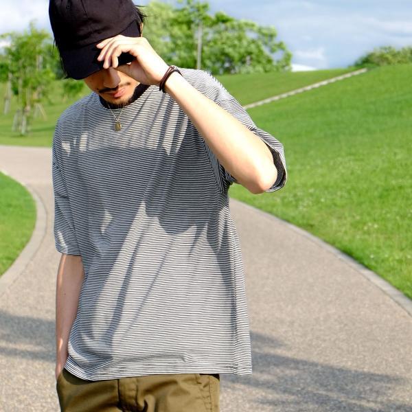 Tシャツ メンズ カットソー 半袖 クルーネック ボーダー ビッグシルエット ドロップショルダー 大きめ ファッション (661955)|zip|08