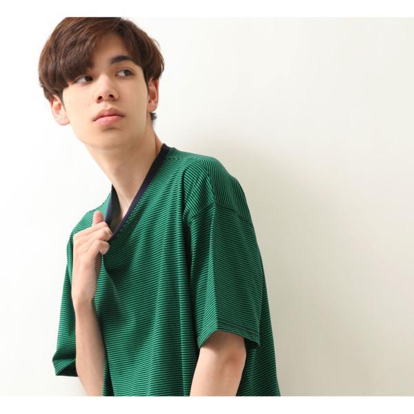 Tシャツ メンズ カットソー 半袖 クルーネック ボーダー ビッグシルエット ドロップショルダー 大きめ ファッション (661955)|zip|10