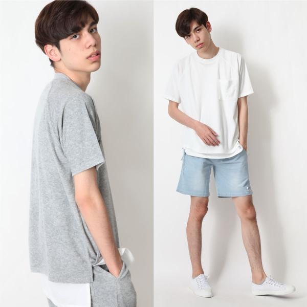 Tシャツ メンズ ラグランスリーブ 半袖 ビッグシルエット パイル タオル地 無地 ファッション ポイント消化 ポイント消化 (76821-019-27) zip 12