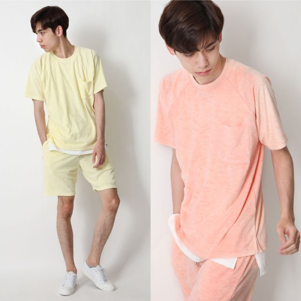 Tシャツ メンズ ラグランスリーブ 半袖 ビッグシルエット パイル タオル地 無地 ファッション ポイント消化 ポイント消化 (76821-019-27) zip 13