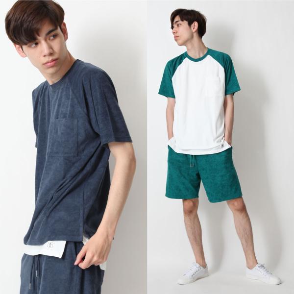 Tシャツ メンズ ラグランスリーブ 半袖 ビッグシルエット パイル タオル地 無地 ファッション ポイント消化 ポイント消化 (76821-019-27) zip 14