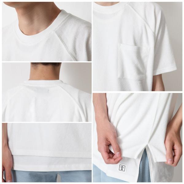 Tシャツ メンズ ラグランスリーブ 半袖 ビッグシルエット パイル タオル地 無地 ファッション ポイント消化 ポイント消化 (76821-019-27) zip 04
