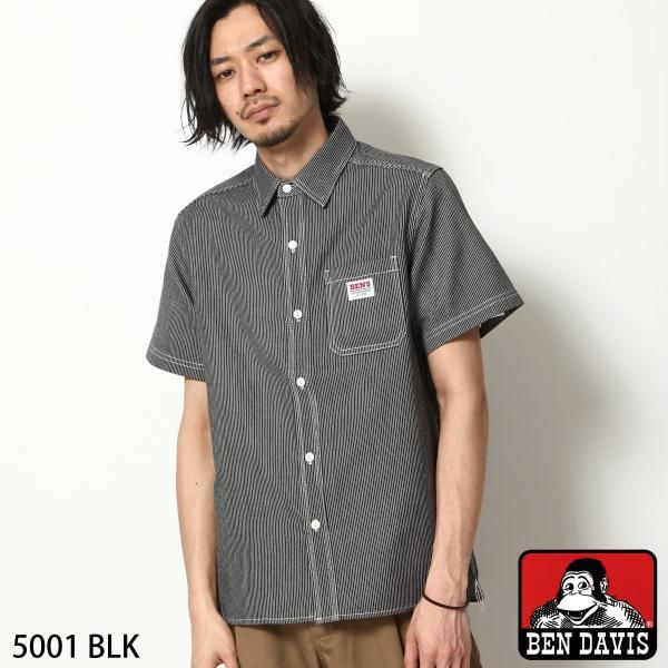 ワークシャツ メンズ シャツ カジュアルシャツ 半袖 無地 ストライプ 別注 ワンポイントBEN DAVIS ベンデイビス ファッション (9580048)|zip