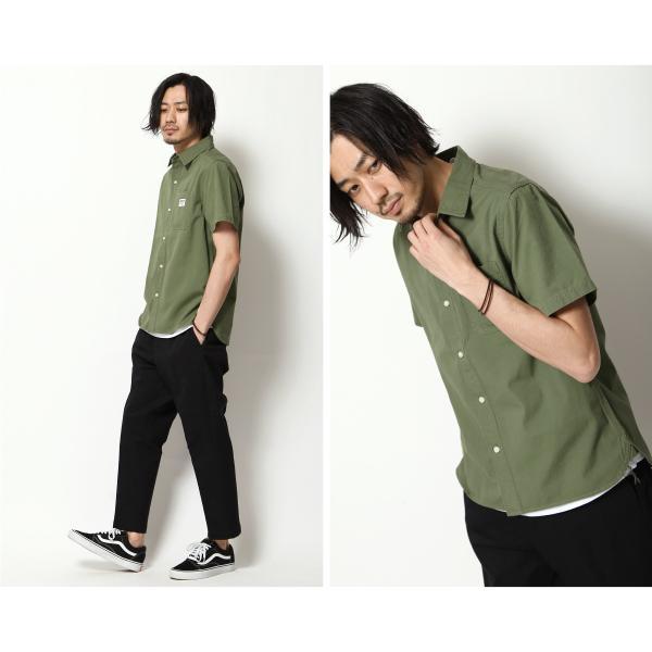 ワークシャツ メンズ シャツ カジュアルシャツ 半袖 無地 ストライプ 別注 ワンポイントBEN DAVIS ベンデイビス ファッション (9580048)|zip|11