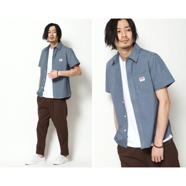 ワークシャツ メンズ シャツ カジュアルシャツ 半袖 無地 ストライプ 別注 ワンポイントBEN DAVIS ベンデイビス ファッション (9580048)|zip|13