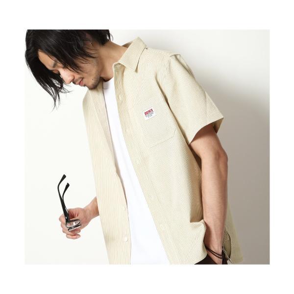 ワークシャツ メンズ シャツ カジュアルシャツ 半袖 無地 ストライプ 別注 ワンポイントBEN DAVIS ベンデイビス ファッション (9580048)|zip|16