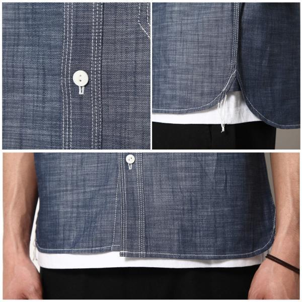 ワークシャツ メンズ シャツ カジュアルシャツ 半袖 無地 ストライプ 別注 ワンポイントBEN DAVIS ベンデイビス ファッション (9580048)|zip|05