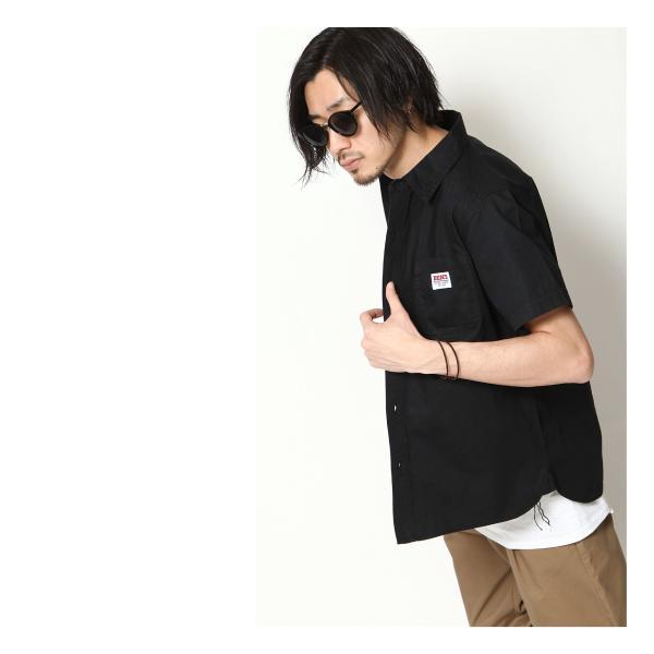 ワークシャツ メンズ シャツ カジュアルシャツ 半袖 無地 ストライプ 別注 ワンポイントBEN DAVIS ベンデイビス ファッション (9580048)|zip|09