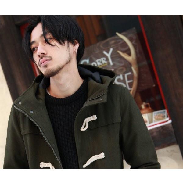 ダッフルコート メンズ コート ロングコート ロング丈 ダッフル アウター 無地 ウールコート ファッション (br1004)|zip|11
