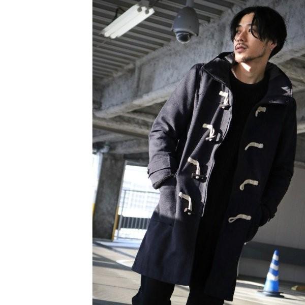ダッフルコート メンズ コート ロングコート ロング丈 ダッフル アウター 無地 ウールコート ファッション (br1004)|zip|12