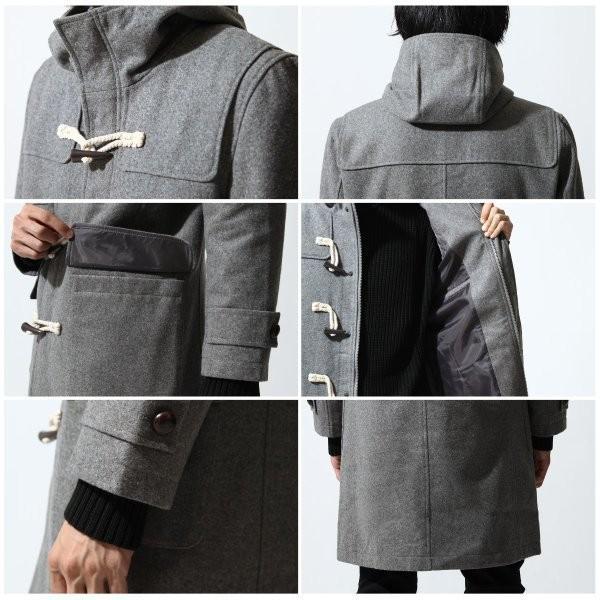 ダッフルコート メンズ コート ロングコート ロング丈 ダッフル アウター 無地 ウールコート ファッション (br1004)|zip|03