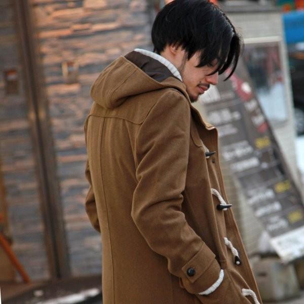 ダッフルコート メンズ コート ロングコート ロング丈 ダッフル アウター 無地 ウールコート ファッション (br1004)|zip|08
