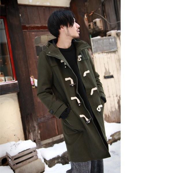 ダッフルコート メンズ コート ロングコート ロング丈 ダッフル アウター 無地 ウールコート ファッション (br1004)|zip|10