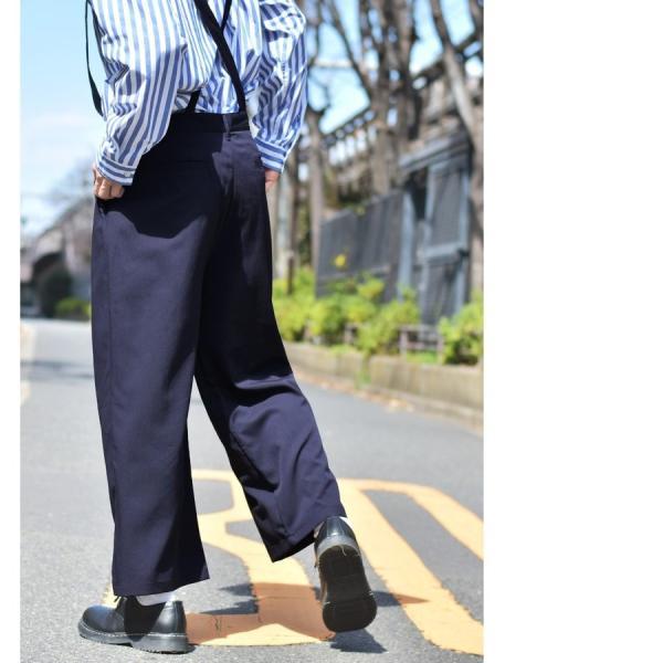 ガウチョパンツ メンズ ワイドパンツ ボトムス アンクル丈 ズボン サスペンダー ビッグシルエット スーツ地 ファッション ポイント消化 (br1006) zip 11