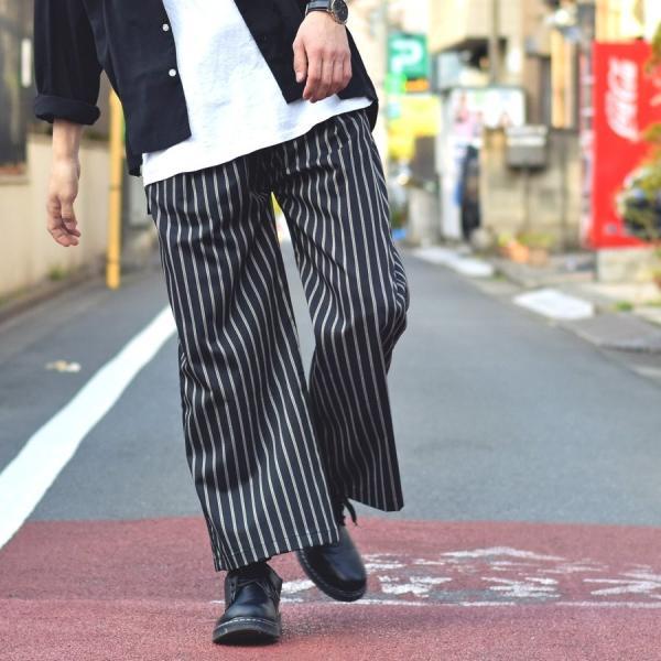ガウチョパンツ メンズ ワイドパンツ ボトムス アンクル丈 ズボン サスペンダー ビッグシルエット スーツ地 ファッション ポイント消化 (br1006) zip 13