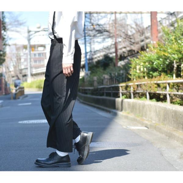 ガウチョパンツ メンズ ワイドパンツ ボトムス アンクル丈 ズボン サスペンダー ビッグシルエット スーツ地 ファッション ポイント消化 (br1006) zip 15