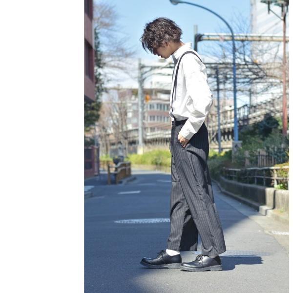 ガウチョパンツ メンズ ワイドパンツ ボトムス アンクル丈 ズボン サスペンダー ビッグシルエット スーツ地 ファッション ポイント消化 (br1006) zip 16