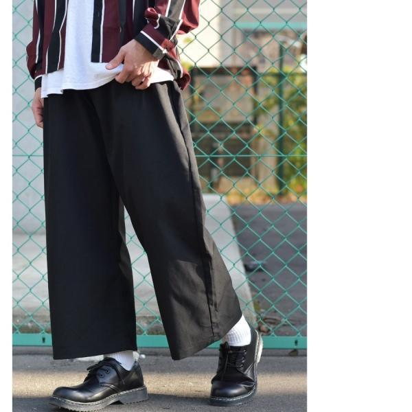 ガウチョパンツ メンズ ワイドパンツ ボトムス アンクル丈 ズボン サスペンダー ビッグシルエット スーツ地 ファッション ポイント消化 (br1006) zip 17