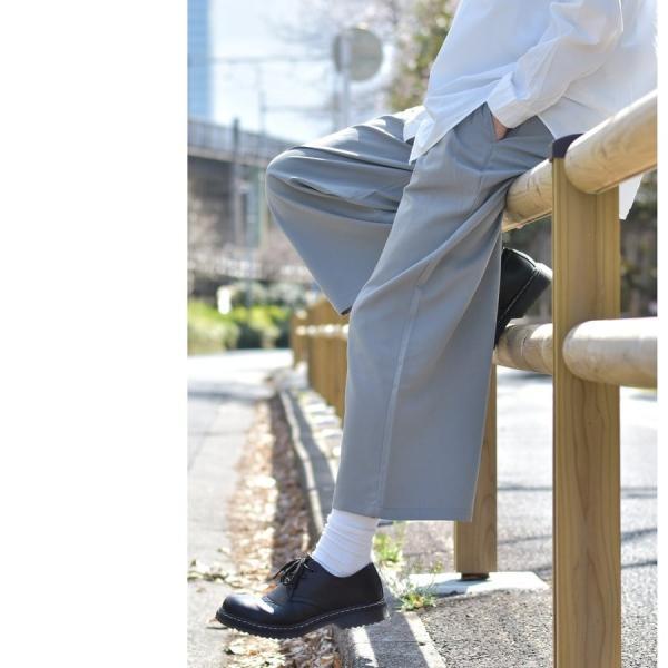 ガウチョパンツ メンズ ワイドパンツ ボトムス アンクル丈 ズボン サスペンダー ビッグシルエット スーツ地 ファッション ポイント消化 (br1006) zip 08