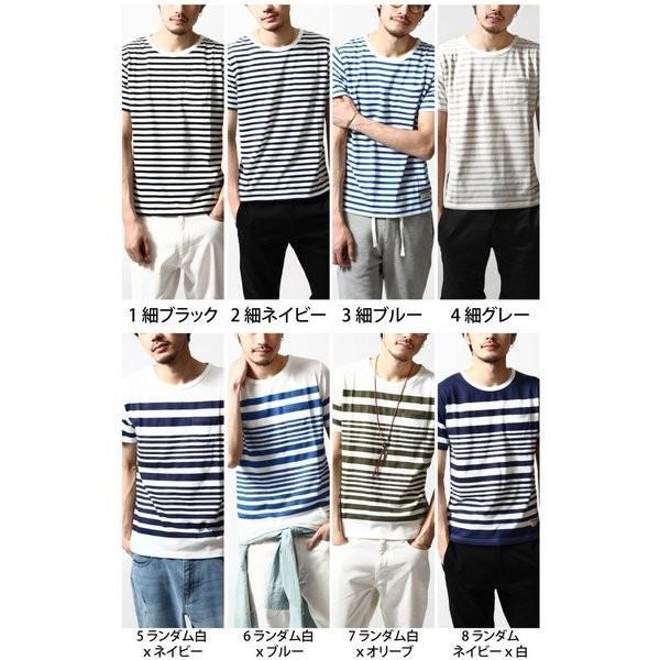 # Tシャツ メンズ カットソー 半袖Tシャツ ボーダー クルーネック  おしゃれ 白 黒 S M L XL XXL 送料無料 (br6000)|zip|02