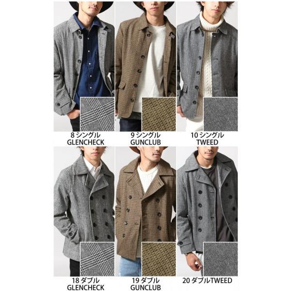 Pコート メンズ メンズ ウール シングル ダブル ピーコート ショート丈 タイト コート メルトン ファッション (br6050)|zip|02