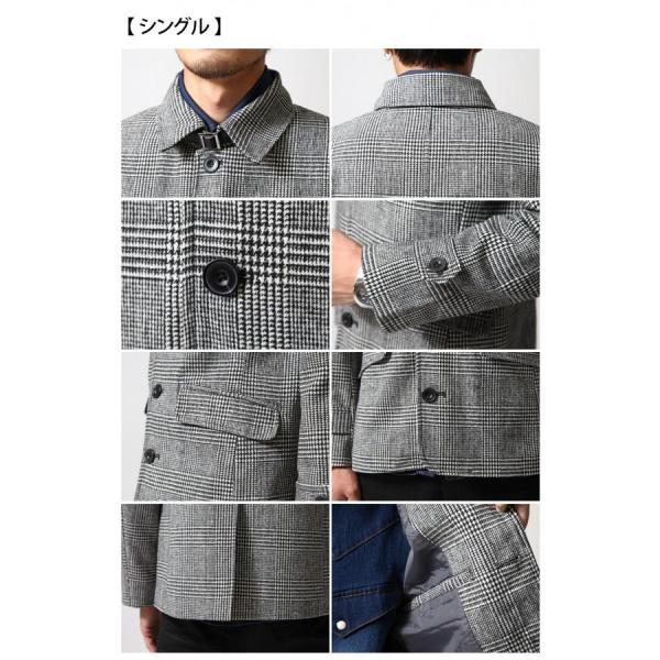 Pコート メンズ メンズ ウール シングル ダブル ピーコート ショート丈 タイト コート メルトン ファッション (br6050)|zip|04