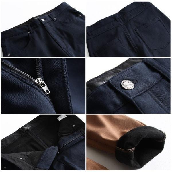 スキニーパンツ メンズ 暖パンツ 裏起毛 パンツ フリース ストレッチ スリムパンツ スキニー ファッション (br6073)|zip|03