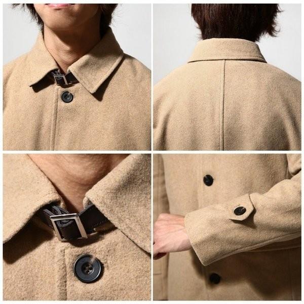 ピーコート メンズ シングル Pコート ウールコート ショート丈 メルトン 撥水 アウター ネイビー スリム XS S M L XL XXL (br8000)|zip|04
