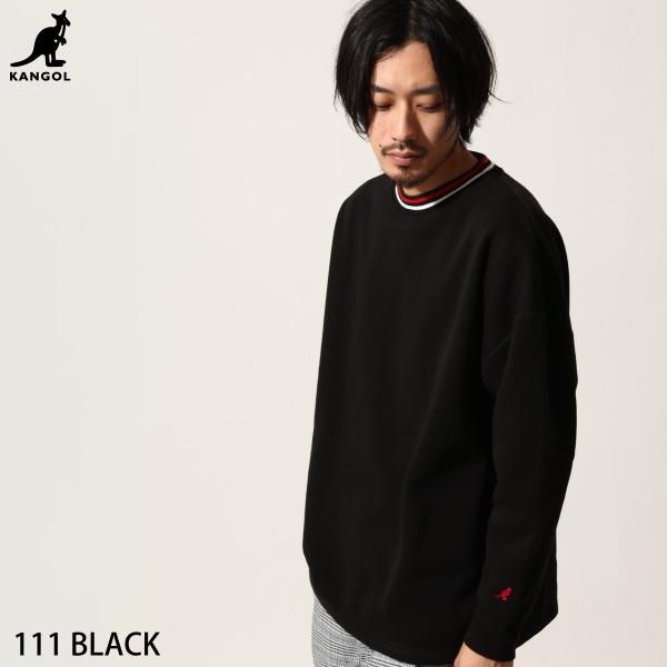 トレーナー メンズ スウェット クルーネック 裏起毛 ロゴ刺繍 リンガー 無地 KANGOL スエット ファッション (kgsa-zi1812)|zip