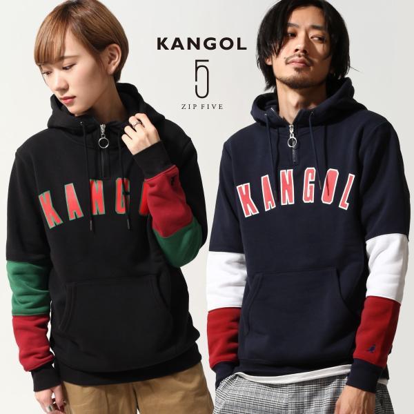 プルオーバーパーカー メンズ パーカー プルオーバー 長袖 裏起毛 ハーフジップ カンゴール KANGOL ファッション (kgsa-zi1814)|zip