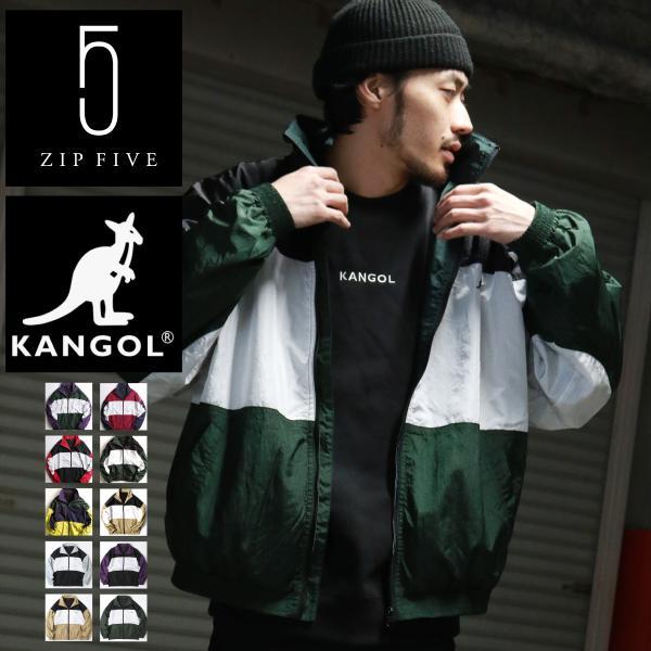 ナイロンジャケット メンズ ブルゾン ナイロン 刺繍 ワンポイント ビッグシルエット ジップアップ KANGOL カンゴール ファッション (kgsa-zi1822) D|zip